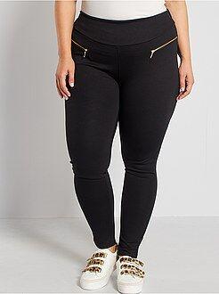 Pantalones - Pantalón de punto milano con cremalleras de fantasía