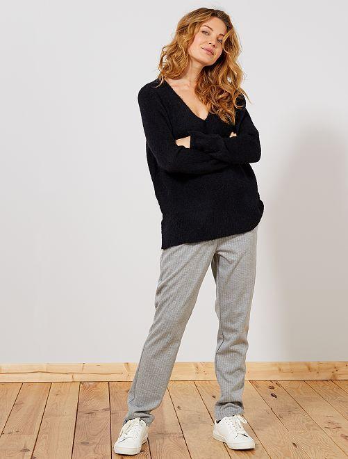 Pantalón de rayas                                         gris claro Mujer talla 34 a 48