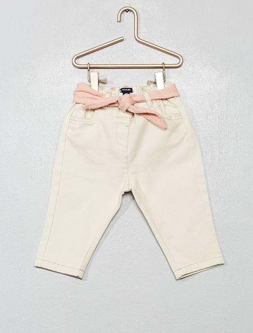 Pantalón de sarga con cinturón de lino                             BLANCO