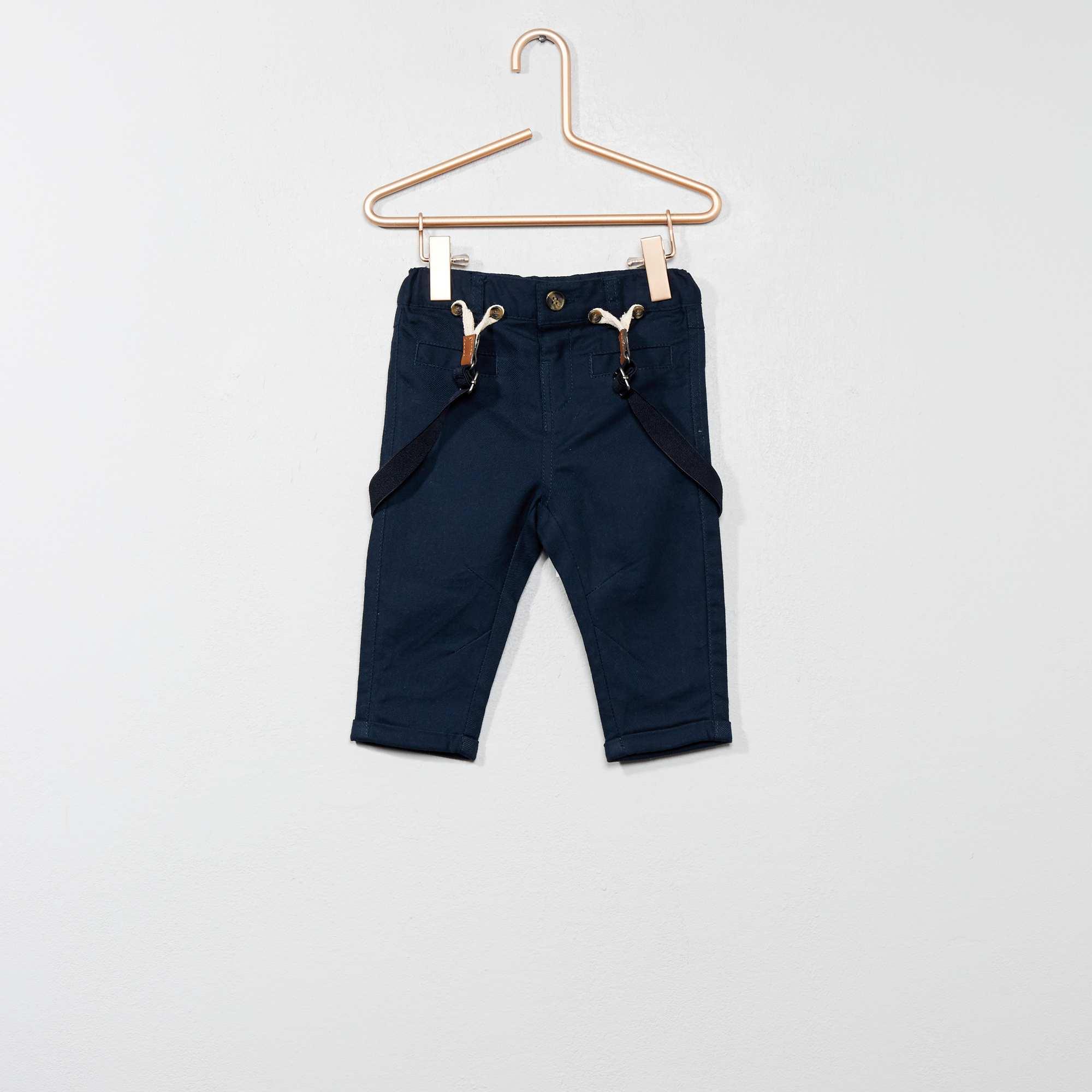 968f056dc Pantalón de sarga con tirantes Bebé niño - azul - Kiabi - 15