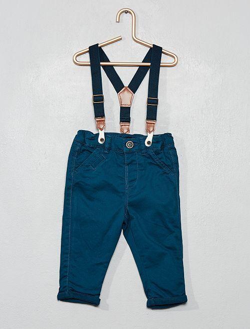 Pantalón de sarga con tirantes                                         AZUL