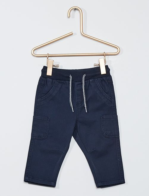 Pantalón de sarga de algodón                             azul