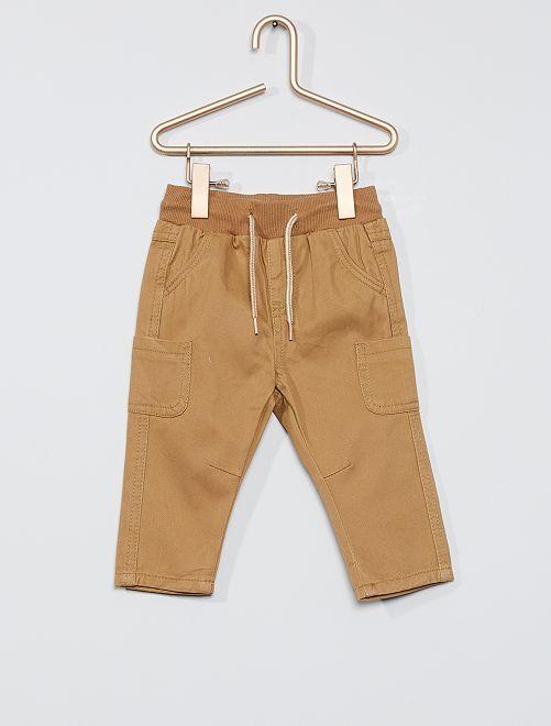 Pantalón de sarga de algodón                                                                                         BEIGE