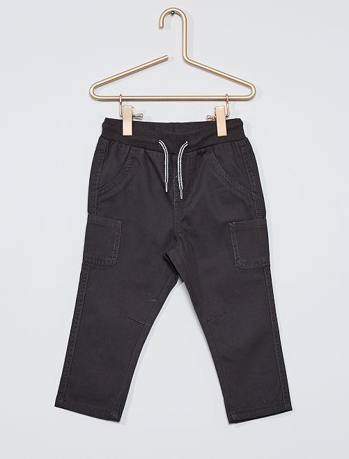 Pantalón de sarga de algodón                                                                                         gris oscuro
