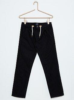 Pantalones - Pantalón de sarga espigada con forro de punto