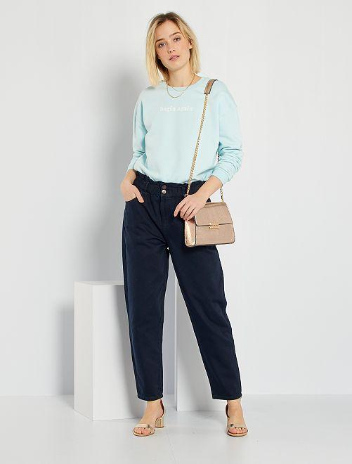 Pantalón de sarga estilo paperbag                                             azul