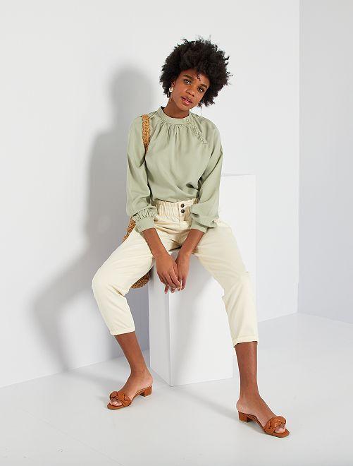 Pantalón de sarga estilo paperbag                                                     BLANCO