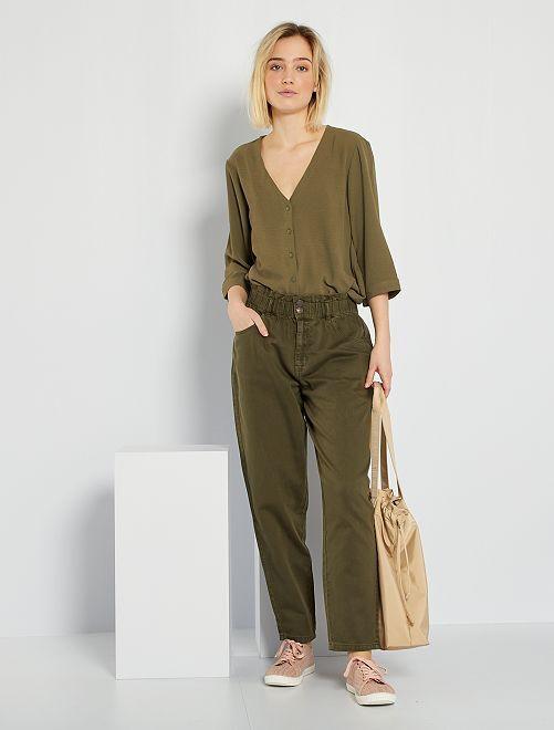 Pantalón de sarga estilo paperbag                                                     KAKI