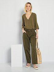 Pantalones Mujer Caqui Kiabi
