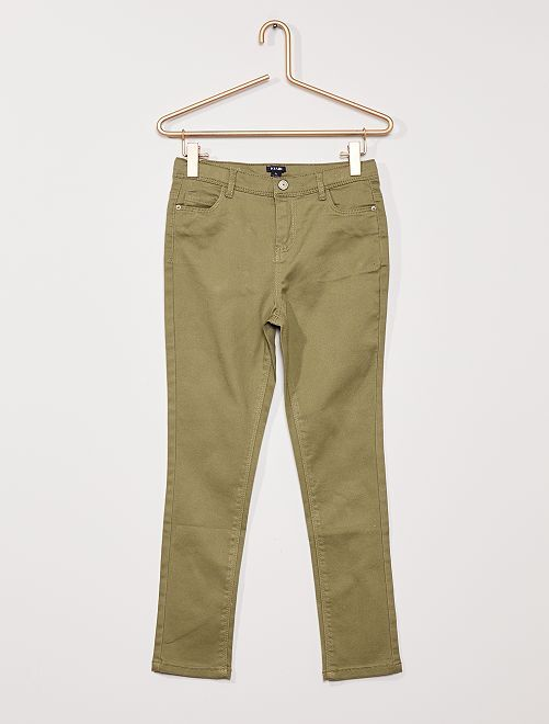 Pantalón de sarga para niños talla +                     verde liquen