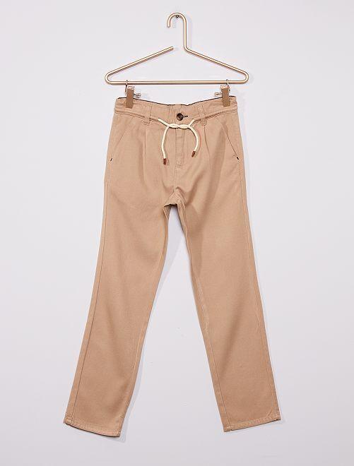 Pantalón de sarga vaporoso                                                     BEIGE
