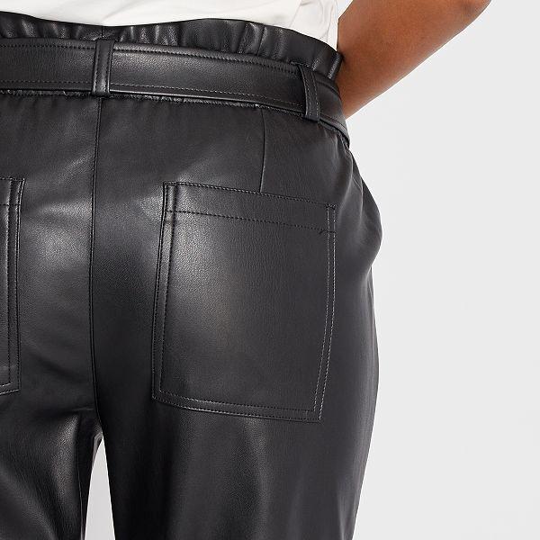 Pantalón de talle alto de material sintético Mujer talla ...