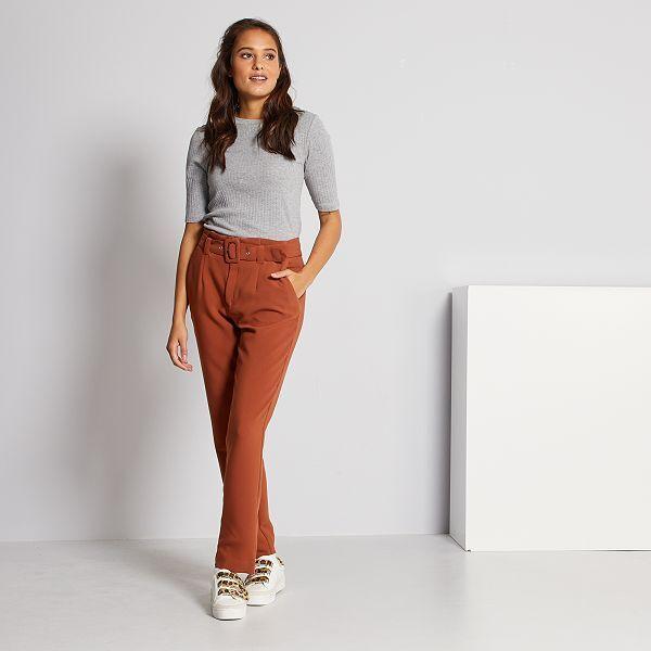 Pantalon De Talle Alto De Vestir Mujer Talla 34 A 48 Marron Kiabi 6 00