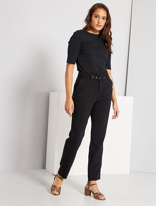 Pantalón de talle alto de vestir                                                     negro