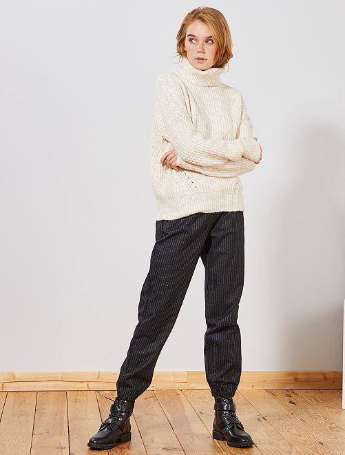 Pantalón de tejido de tweed                                                     AZUL