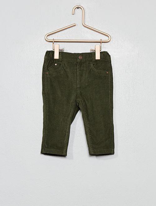 Pantalón de terciopelo con forro                                                                             verde oscuro