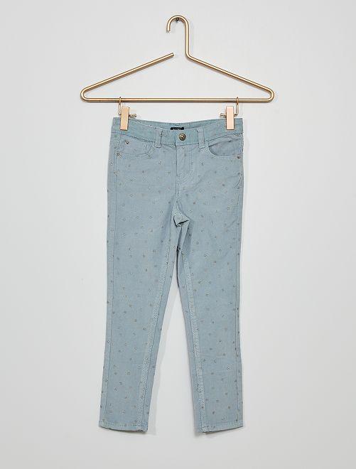 Pantalón de terciopelo con motivo                                                                                                                 AZUL