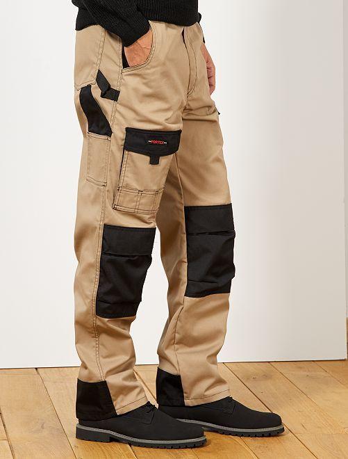 Pantalón de trabajo bicolor                             BEIGE