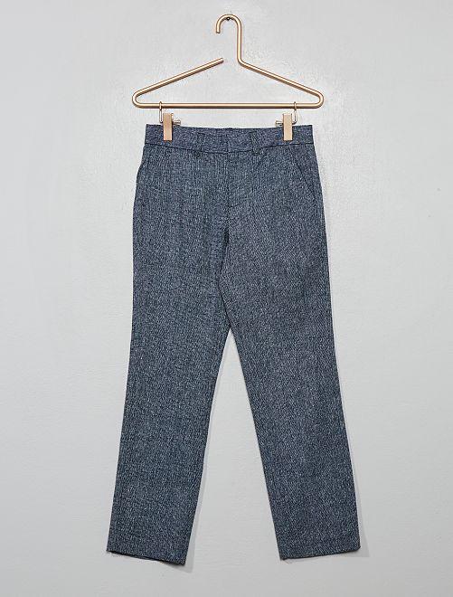 Pantalón de traje de lino y algodón                                         azul