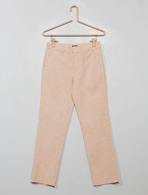Pantalón de traje de lino y algodón                                         BEIGE
