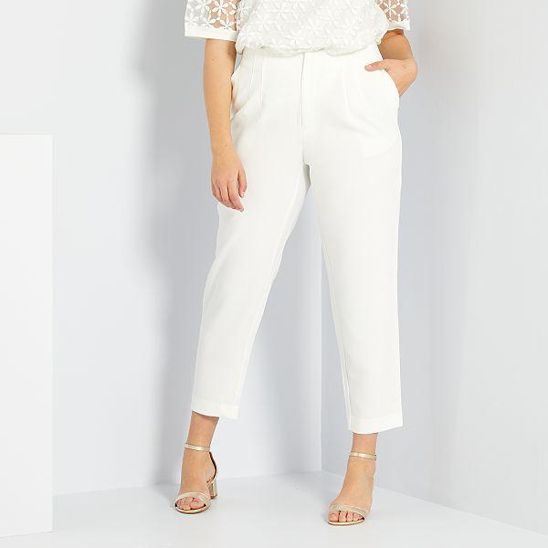 Pantalon De Vestir De Talle Alto Tallas Grandes Mujer Blanco Nieve Kiabi 22 00