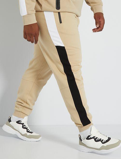 Pantalón deportivo colorblock                             BEIGE
