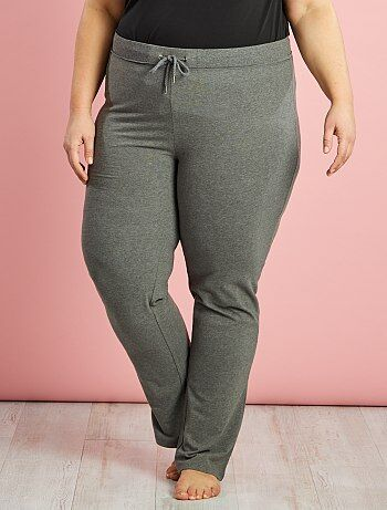 Pantalón deportivo de felpa                                         gris chiné Tallas grandes mujer