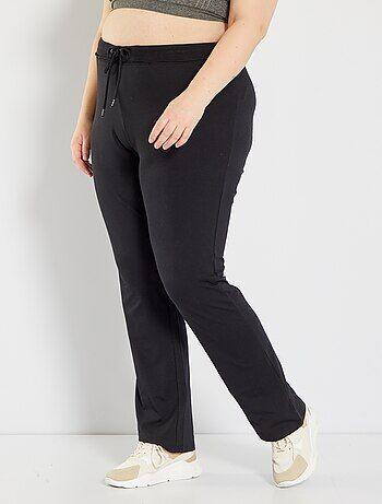 Pantalón deportivo de felpa                                         negro Tallas grandes mujer