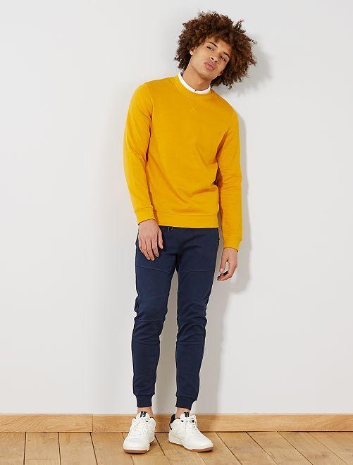 Pantalón deportivo de piqué de algodón                                         AZUL Hombre