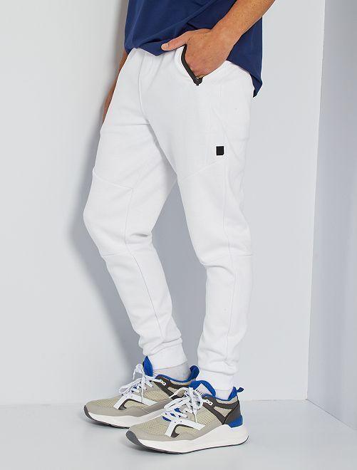Pantalón deportivo de piqué de algodón                                                     blanco