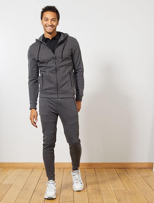 Pantalón deportivo de piqué de algodón                     GRIS