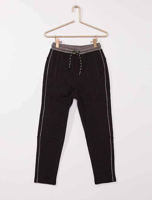 Pantalón deportivo de piqué de algodón                                                     negro