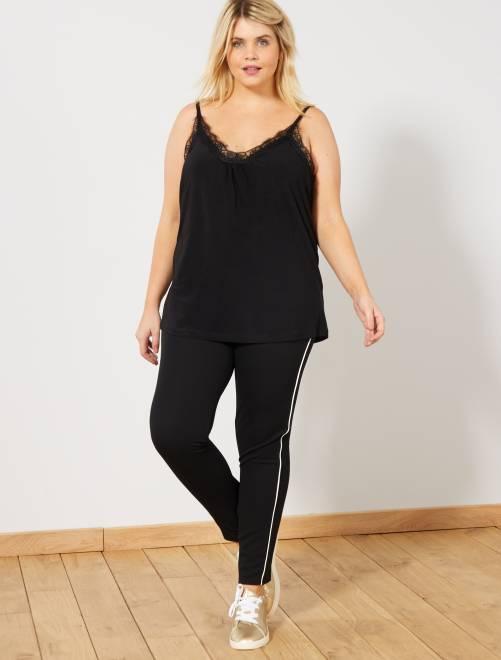 Pantalón elástico con franjas finas laterales                                         negro/blanco Tallas grandes mujer