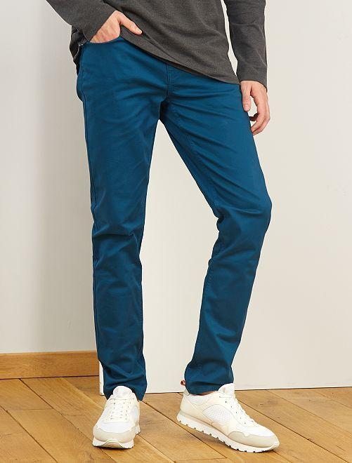 Pantalón entallado con 5 bolsillos L38 +1m90                                                                                                     azul poseidon