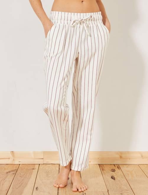 Pantalón estampado de franela                     AZUL Lencería de la s a la xxl