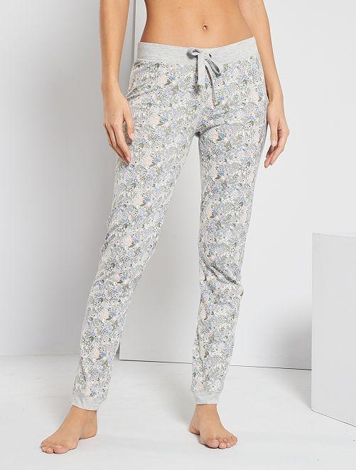 Pantalón estampado floral                                                     GRIS