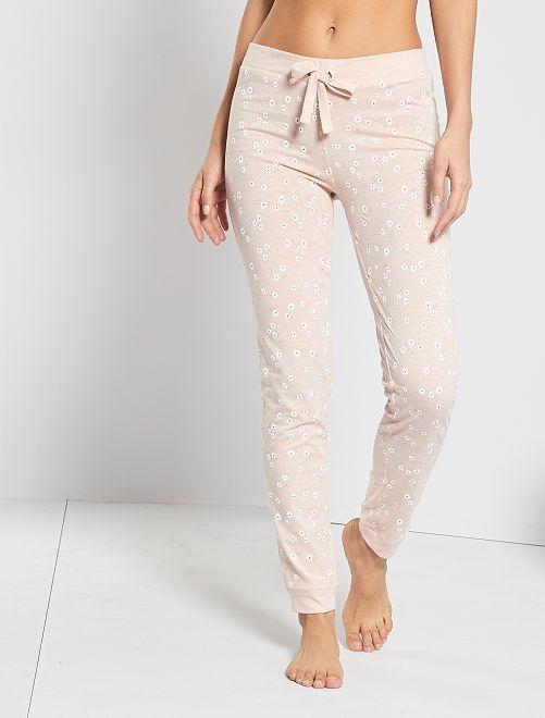Pantalón estampado floral                                                     rosa