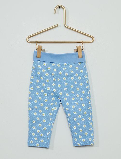Pantalón estampado 'margaritas'                             azul/blanco