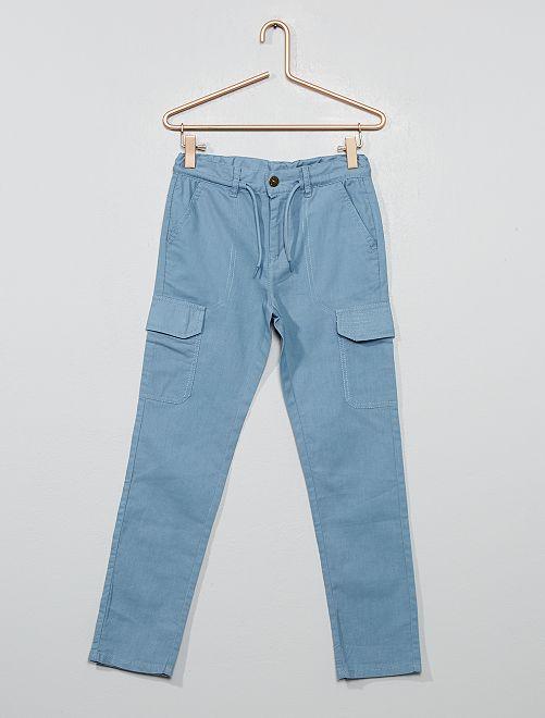 Pantalón estilo cargo de lona de algodón puro                                         AZUL Chico