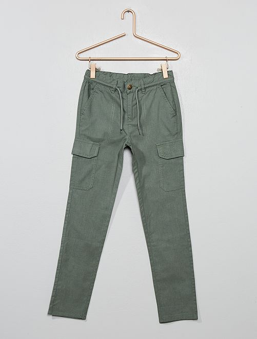 Pantalón estilo cargo de lona de algodón puro                                         KAKI