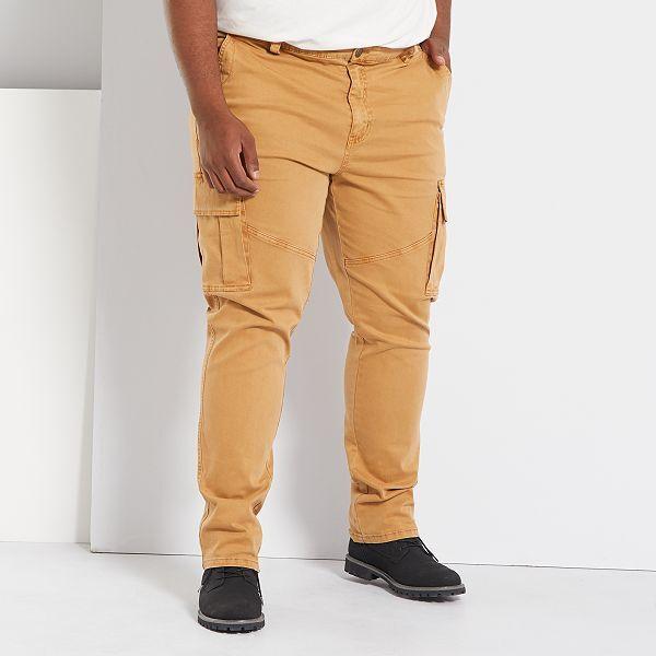 Pantalon Fitted Tipo Cargo Tallas Grandes Hombre Marron Kiabi 25 00