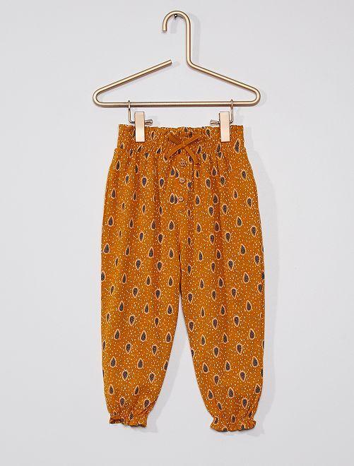 Pantalón ligero con motivos                                                                             AMARILLO