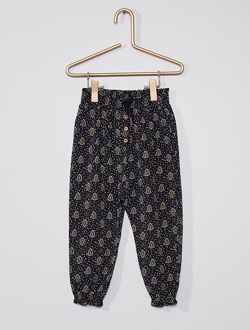 Pantalón ligero con motivos                                                                             AZUL