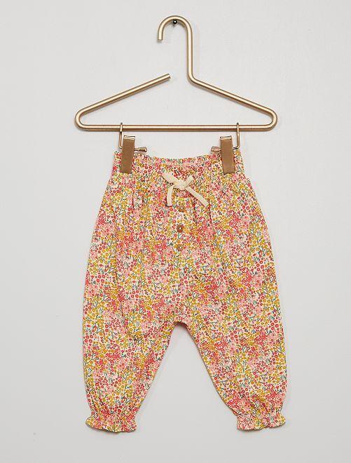 Pantalón ligero con motivos                                                                             BLANCO