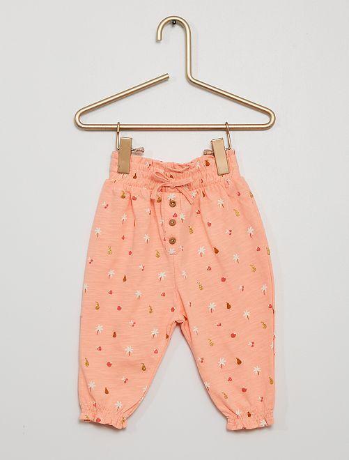 Pantalón ligero con motivos                                                                             ROSA