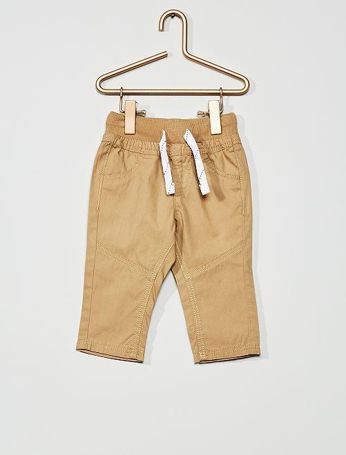 Pantalón ligero de popelina                                         BEIGE