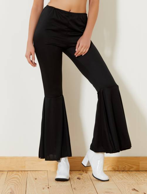 Pantalón liso pata de elefante                             negro