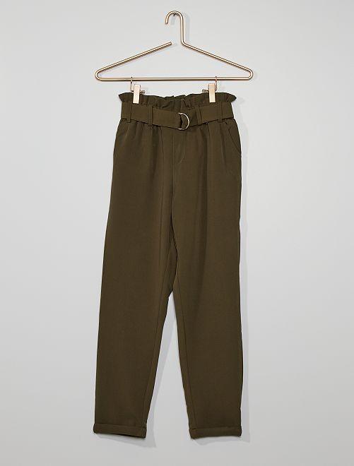 Pantalón paper bag                                                                             KAKI