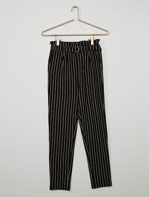 Pantalón paperbag de rayas                                         NEGRO