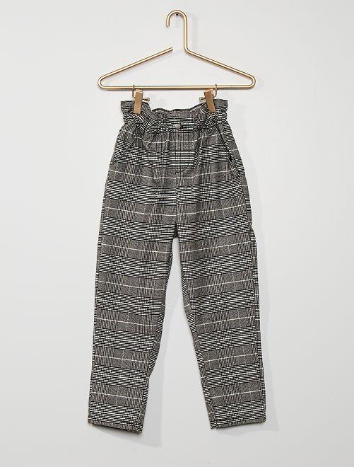 Pantalón paperbag                                                     negro/beige